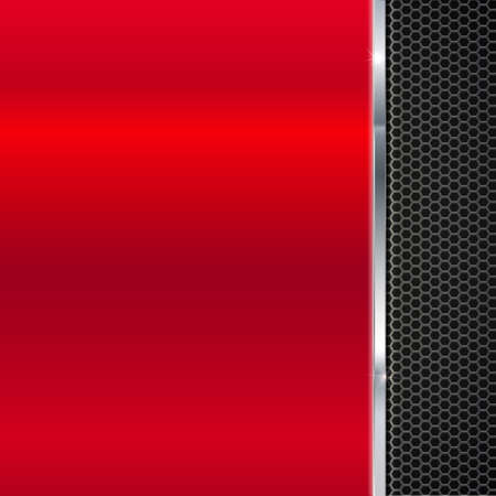 polished: Background of polished red metal and black metal mesh with polished metal strip. Technological background for garages, auto shops and just creativity