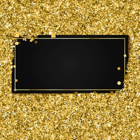 Glittering background with black banner and place for your message. Modern, gold template for VIP card, exclusive gift certificates, luxury voucher, presentation for shop.