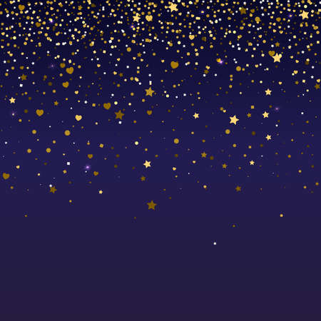 Brilliant, golden and sparkling dust particles, shape of heart, stars on dark background. The falling, glittering golden rain or snowfall, ready background template for greeting card or invitation Illustration
