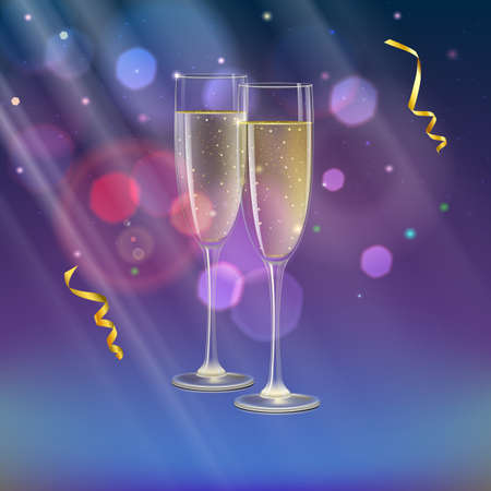 Glasses of champagne and streamer with rays of light on background. Champagne with bubbles in a wineglass with place for your text Illustration