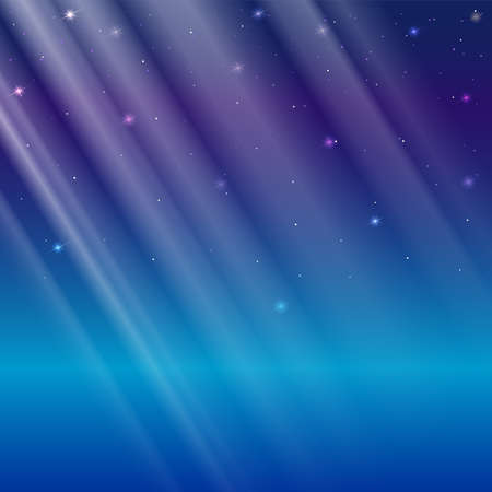 Abstract light overlay, vector Illustration. Light rays on a blue background with glowing and sparkling particles, template for greeting card, Christmas invitation or cover