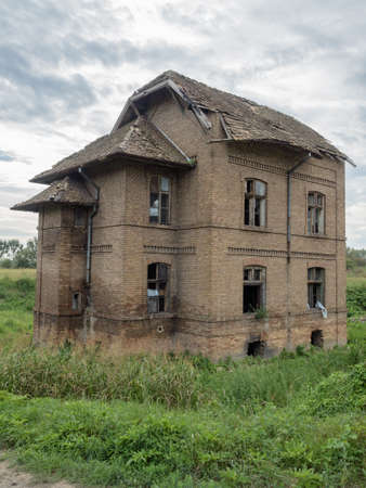 alteration: Picture of an old abandoned mansion-house. Stock Photo
