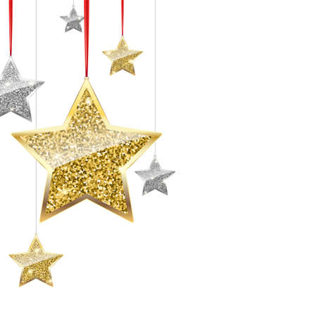 Glitter background with wilver and gold hanging stars.