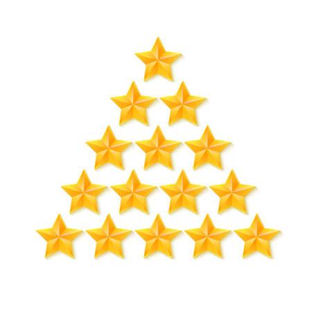 estrellas cinco puntas: Conjunto de estrellas de clasificación. Oro, metal estrellas de cinco puntas en forma de un árbol de Navidad. aislado en el fondo blanco