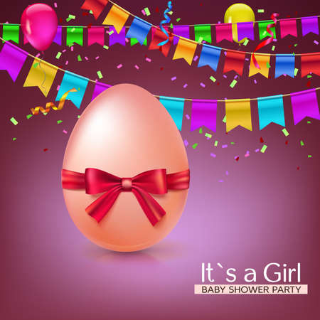 it s a girl: It s a girl baby shower concept with red ribbon bow and egg. Party invitation template with carnival flag garlands, confetti, streamers and tinsel.