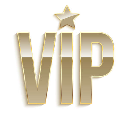 Golden symbol of exclusivity, the label VIP. Very important person - VIP icon with effect of glass reflection, sign of exclusivity with bright, Golden glow. Template for vip banners or card Illustration
