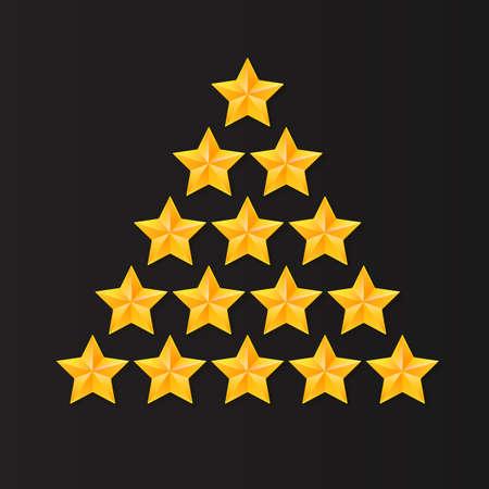 estrellas cinco puntas: Conjunto de estrellas de clasificación. Oro, metal estrellas de cinco puntas en forma de un árbol de Navidad. aislado en el fondo negro