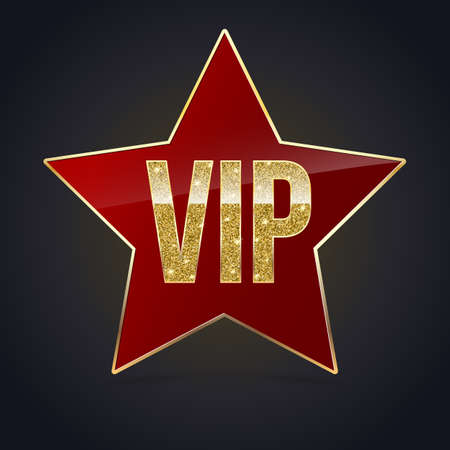 exclusivity: Red five-pointed star with Golden edging and the inscription VIP. Sign of exclusivity and elitism with bright, Golden glow. Template for vip banners or card, exclusive certificate, luxury voucher Illustration