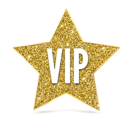 exclusivity: Five-pointed star with Golden edging and the inscription VIP. Sign of exclusivity and elitism with bright, Golden glow. Template for vip banners or card, exclusive certificate, luxury gift or voucher