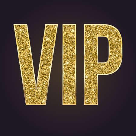 Golden simbolo di esclusività, il VIP etichette con glitter. Molto importante persona - icona VIP su sfondo scuro Vettoriali