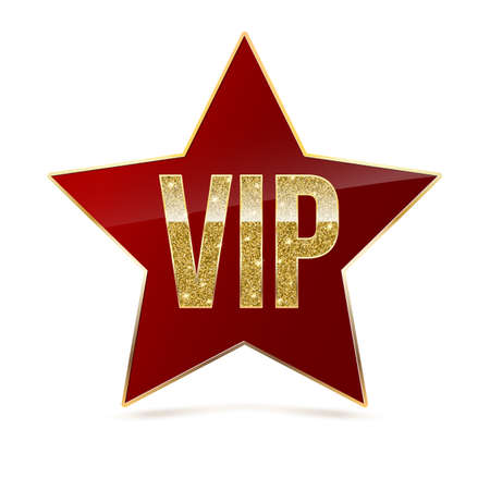 Red five-pointed star with Golden edging and the inscription VIP. Sign of exclusivity and elitism with bright, Golden glow. Template for vip banners or card, exclusive certificate, luxury voucher Illustration
