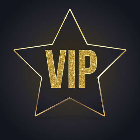 exclusivity: Black five-pointed star with Golden edging and the inscription VIP. Sign of exclusivity and elitism with bright, Golden glow. Template for vip banners or card, exclusive certificate, luxury voucher Illustration