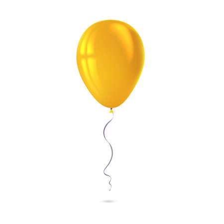 reflects: Inflatable air flying balloon isolated on white background. Close-up look at yellow balloon with reflects. Realistic 3D vector illustration