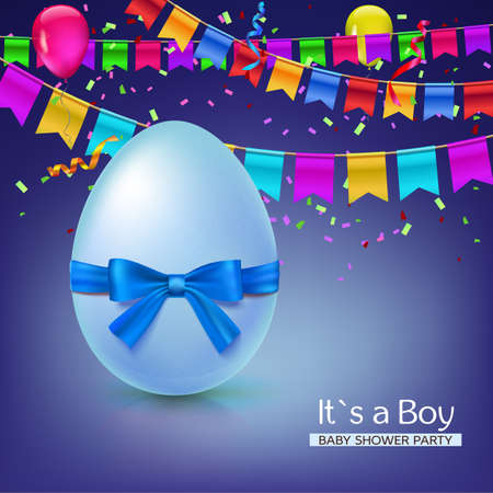 it s a boy: It s a boy baby shower concept with blue ribbon bow and egg. Vector illustration. Party invitation template with carnival flag garlands, confetti, streamers and tinsel.