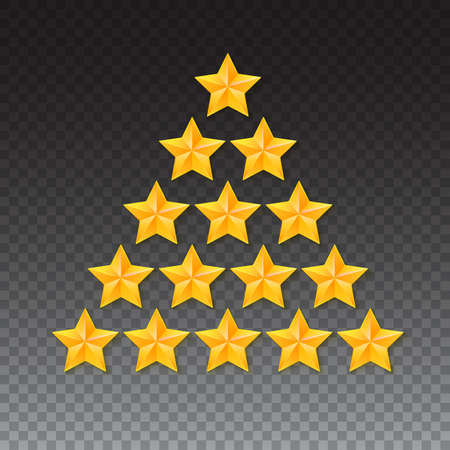 estrellas cinco puntas: Set of rating stars. Gold, metal five-pointed stars in the shape of a Christmas tree. isolated on transparent background