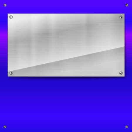 polished: Shiny brushed metal plate with screws. Stainless steel banner on blue polished background, vector illustration for you