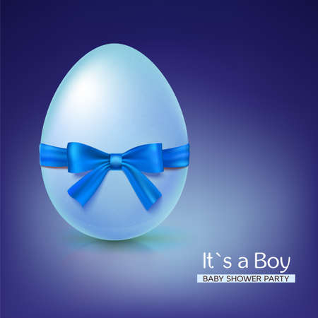 it s a boy: It s a boy baby shower concept with blue ribbon bow and egg. Vector illustration. Party invitation template on blue background.