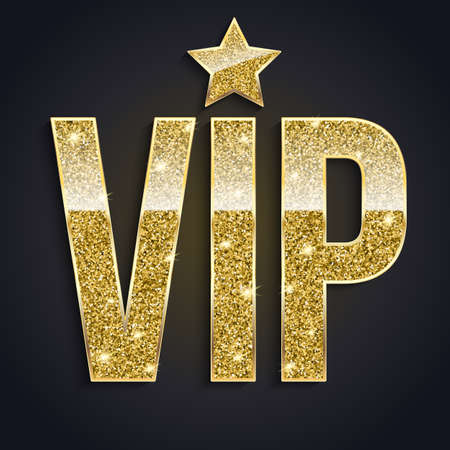 exclusivity: Golden symbol of exclusivity, the label VIP with glitter. Very important person - VIP icon on dark background Sign of exclusivity with bright, Golden glow. Template for vip banners or card