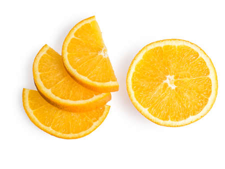 perfectly: Ripe, fresh orange slice isolated on white background. Perfectly retouched with clear details. Full depth of field. Fruit photographed in Studio on white background