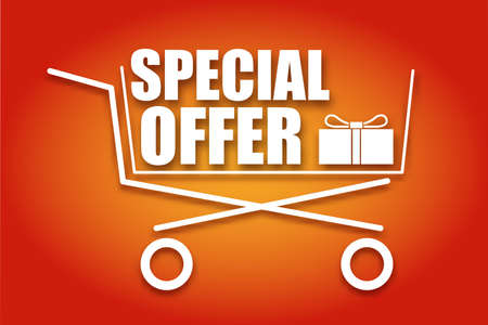 Shopping cart, icon, symbol purchases and sales on a juicy red background. A large inscription in white letters Special offer