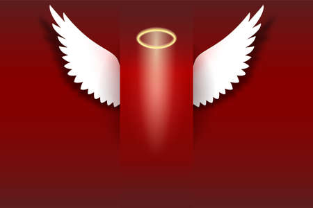 Angel wings with golden halo hovering on the red background Wings and golden halo. Card with white angelic wings with place for your text