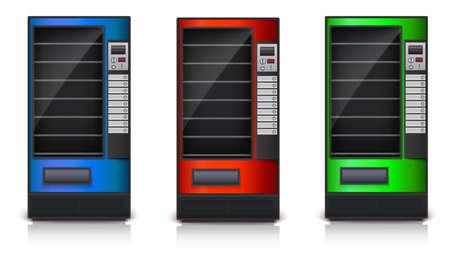 Automaat met planken, groen, rood en blauw coloor. 3D-beelden, vector pictogram, eps10 Vector Illustratie
