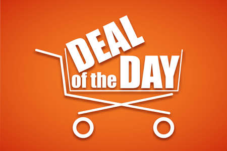 convenient: Shopping cart, icon, symbol purchases and sales on a juicy red background. A large inscription in white letters Deal of the Day