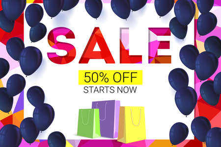 low price: Sale banner on low poly background with inflatable balloons and paper, colored shopping bags for luxury sales offers. Modern, colorful design with red and yellow inflatable balloons.