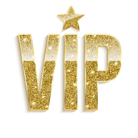 exclusivity: Golden symbol of exclusivity, the label VIP with glitter. Very important person - VIP icon on white background Sign of exclusivity with bright, Golden glow. Template for vip banners or card