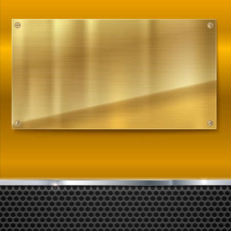 Shiny brushed metal gold, yellow plate with screws. Stainless steel banner on yellow polished background with metal strip and black mesh, vector illustration for you