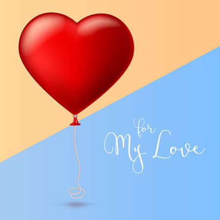 Bright red heart, the inflatable balloon in the shape of a realistic, big heart with tape, ribbon. Greeting card for your friends, loved ones with a bouncy ball in form heart on colored background. Stock Photo