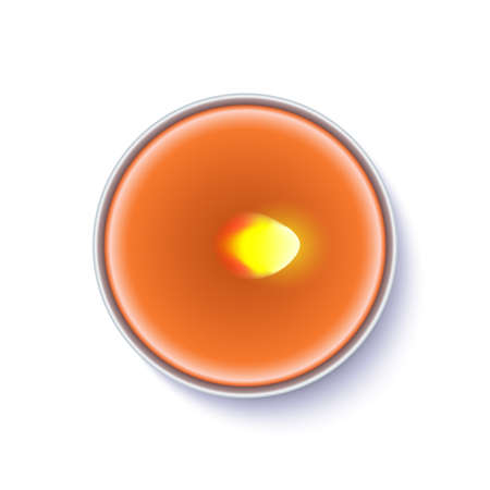 Realistic wax, flamed round candle in a metal case isolated on white backdrop. Top view on orange burning candle. Template for invitation or greeting cards. Vector illustration. Stock Photo