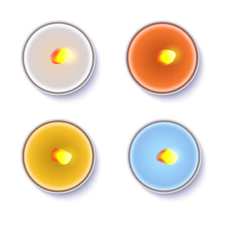 Realistic wax, flamed, round candles in a metal case isolated on white backdrop. Top view on colored burning candles. Template for invitation or greeting cards. Vector illustration.