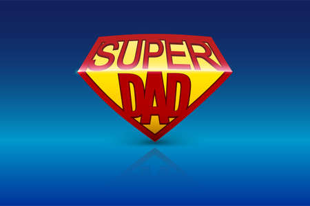 Super dad shield greeting card on blue  . Editable illustration Illustration