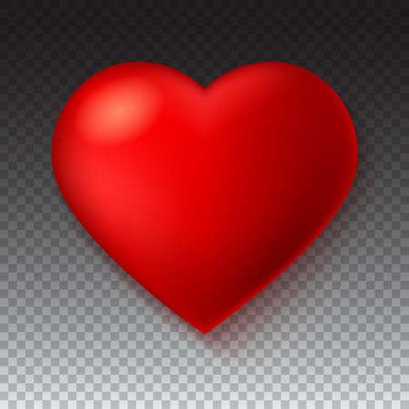 Rojo grande, un corazón escarlata aislado sobre fondo transparente con sombra. Símbolo, icono, ilustración 3D para usar en la plantilla para tarjetas de felicitación, forma de primer plano, icono de corazón rojo para sitios web y aplicaciones