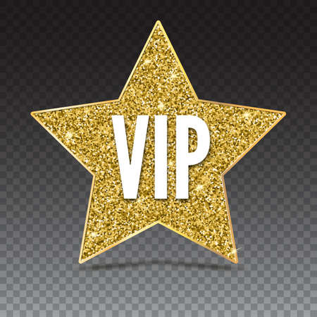 Black five-pointed star with Golden edging and the inscription VIP. Sign of exclusivity on trasparent background. Template for vip banners or card, exclusive certificate, luxury voucher Illustration