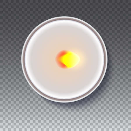 Realistic wax, flamed round candle in a metal case isolated on transparent backdrop. Top view on white burning candle. Template for invitation or greeting cards. Vector illustration. Illustration