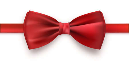 Realistic red bow tie, vector illustration, isolated on white background. Elegant silk neck bow. Illustration
