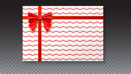 Gift box with big red bow and ribbon, isolated on transparent background. Top view on gift packaged in a paper with pattern Illustration