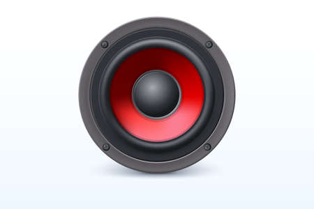 Audio loud speaker with red diffuser isolated on white background. Vector illustration, eps10 Illustration