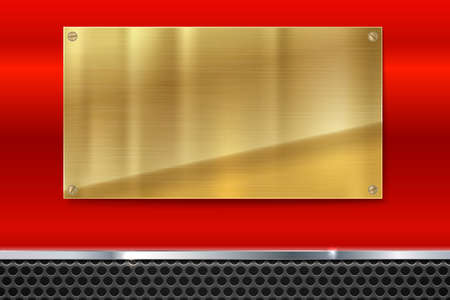 metal mesh: Shiny brushed metal gold, yellow plate with screws. Stainless steel banner on red polished background with metal strip and black mesh, vector illustration for you Illustration
