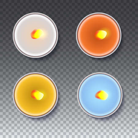 Realistic wax, flamed, round candles in a metal case isolated on transparent backdrop. Top view on colored burning candles. Template for invitation or greeting cards. Vector illustration. Illustration