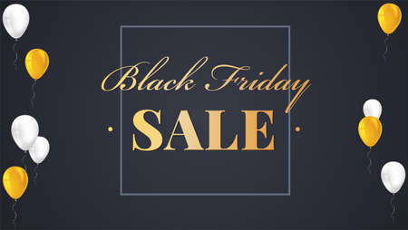 reductions: Black Friday Sale Poster with shiny balloons on dark Background with golden lettering. Vector illustration. Black sale background. Illustration