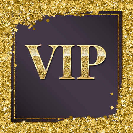 VIP premium card. Golden design template with glittering shinet. Decorative background with gold glitter shine text badge. Sign of exclusivity with bright golden glow. Template for vip banners or card Illustration