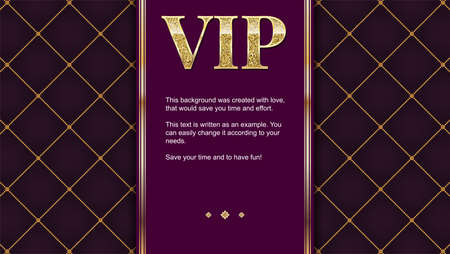 VIP premium invitation card, poster or flyer for party. Golden design template with glittering shine text. Quilted pattern decorative background with gold ribbon and text badge. Illustration