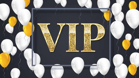 reductions: VIP poster with shiny colored balloons on dark background with golden lettering and framem, gold glitter shine text badge. Vector 3D illustration. Template for vip banners or card
