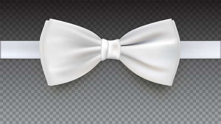 Realistic white bow tie, vector illustration, isolated on transparent background. Elegant silk neck bow.