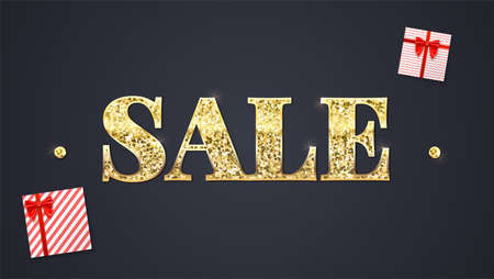 discount banner: Black sale background. Glittering text Sale, colored paper shopping bag with labels new purchased items and gift boxes. Banner in HD format for your business ad about discount.