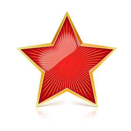 Red star with gold metal rim and radiating from the center rays. Realistic symbol of the USSR with reflexes and reflections. Soviet red star, isolated on white background. Symbol of the holidays