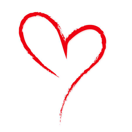 Hand-drawn, sketchy, doodle red heart on white backdrop. A symbol drawn with a brush. Template, mock-up for Valentine or Mother day, postcards, printing on t-shirts with love for loved ones. Illustration